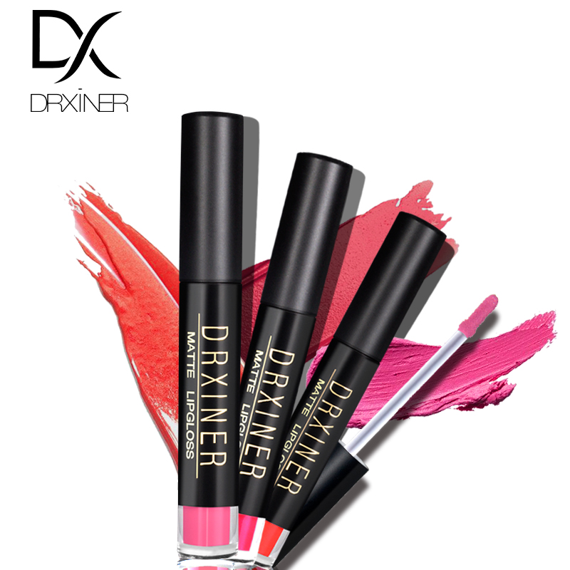 DRXINER matte lip gloss Lip Tint Cosmentic Waterproof Lipgloss Pigment Sexy Lip kit Matte Liquid Lipstick Nude Makeup in Lip Gloss from Beauty Health