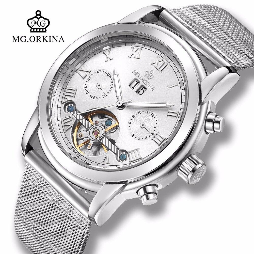 Мужские Бизнес механические Автоматические Tourbillon часы Mg. orkina платье Классический Серебряный Self ветер Авто Дата Неделя Прозрачный часы