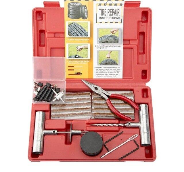 Reifen Reparatur Kit, 65 stücke Heavy Duty Flache Reifen Reparatur Set für Motorräder ATVs UTVs Traktoren Rasenmäher Lkw Jeeps Autos Bikes