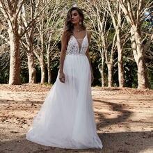 Недорогое длинное пляжное свадебное платье в стиле бохо с глубоким