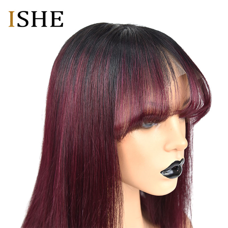 HTB1qQkwUhTpK1RjSZFMq6zG VXaG Ombre Red 99J Bob Wigs With Bangs 13x6 Lace Front Human Hair Wigs Indian Remy Hair Straight Full For Women With Bang Black Hair