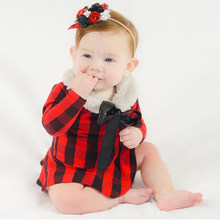 Toddler Baby Red Plaid Romper Newborn Girls Tutu Jumpsuit Outfits Clothing Autumn Clothes Long Sleeve Red Plaid Cotton Dress(China)