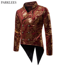 Mens Gold Gilding Red Tailcoat Suit Jacket 2018 New Double B