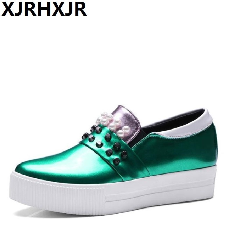 XJRHXJR Plus Sizes 34-43 New Hot Sale Fashion Slip-on Platform Oxfords Round Toe Rivets Women Flats Woman Shoes Black Green hot sale 2016 new fashion spring women flats black shoes ladies pointed toe slip on flat women s shoes size 33 43