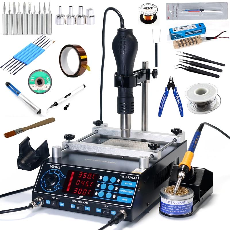 YIHUA 853AAA Soldering Station Adjustable Soldering Iron BGA Hot Air Gun PCB IR Preheating Station For