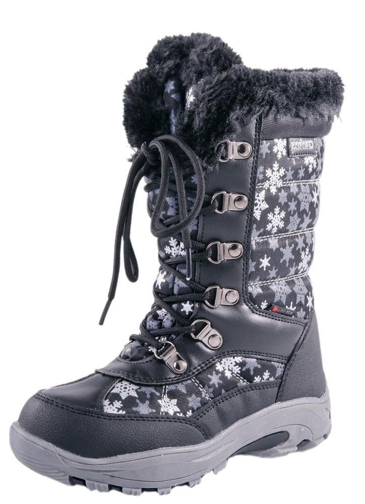 Kotofey Female Children Snow Boots Gils Winter Shoes Baby Kids Waterproof  Cotton-padded Boots With Wool