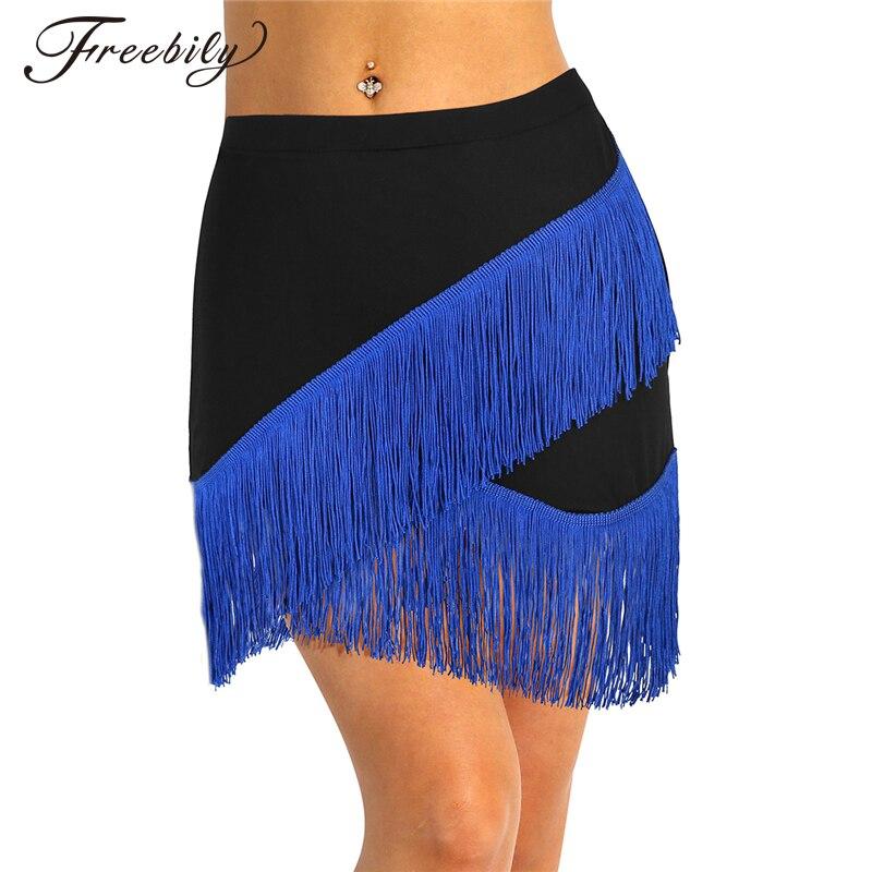 Women Elastic Waistband Tango Rumba Ballroom Latin Dance Skirt Adult Fringe Flowing Tassels Latin Skirt Stage Dance Wear