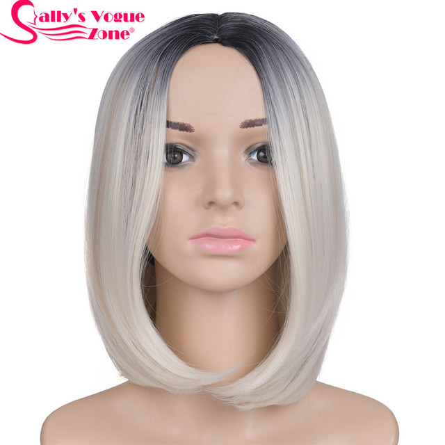 Sallyhair Middle Part 12inch Japanese High Temperature Fiber Synthetic Short Ombre Black Blonde Color Bob Wig For Women 1