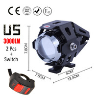 1 Pair 125w Cree U5 Motorcycle Headlight Black Shell LED Moto Driving Fog Light DRL Motorbike