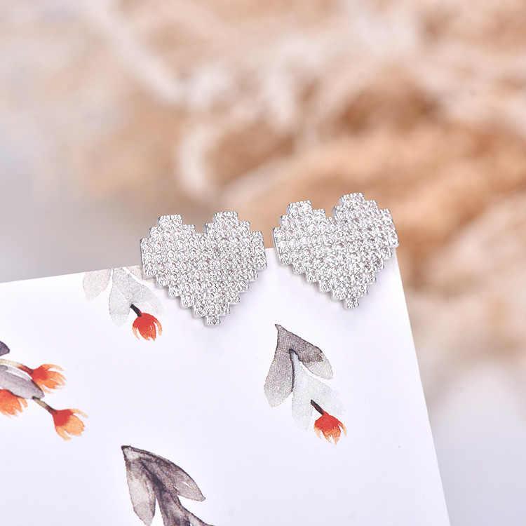 אהבת ילדה עגילי לב בצורת משובץ זירקון כסף עגילי נקבה קוריאני ריינסטון מתוק אוזן תכשיטי חג האהבה מתנה