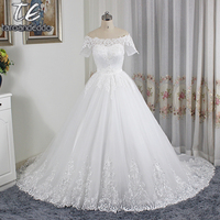 Off The Shoulder Applique Lace Ball Gowns Short Sleeves Wedding Dress Lace Up Bridal Dress Vestido