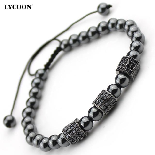 Atolyewolf health magnet HEMATITE beads bracelets three Hexagonal prong setting black Cubic Zirconia strand unisex bracelets