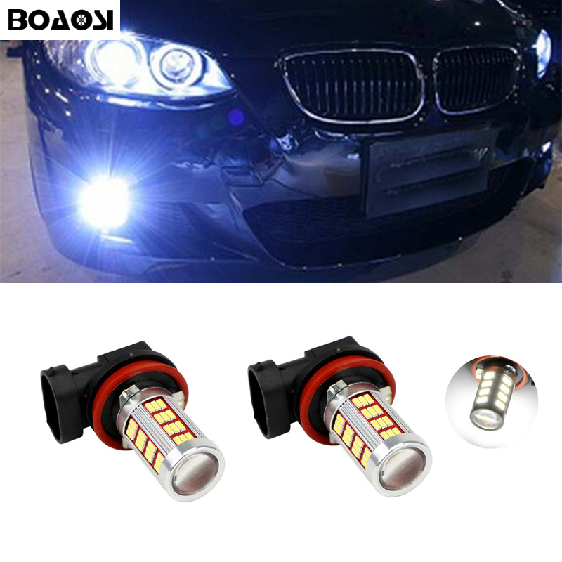 BOAOSI 2x Bright Error free H8 H11 LED Car projector Fog Light bulb For BMW E39 325 328 M mini SPORT 2x 24 smd led error free license plate light for bmw 1 series e82 e88 e39 e61n car light source