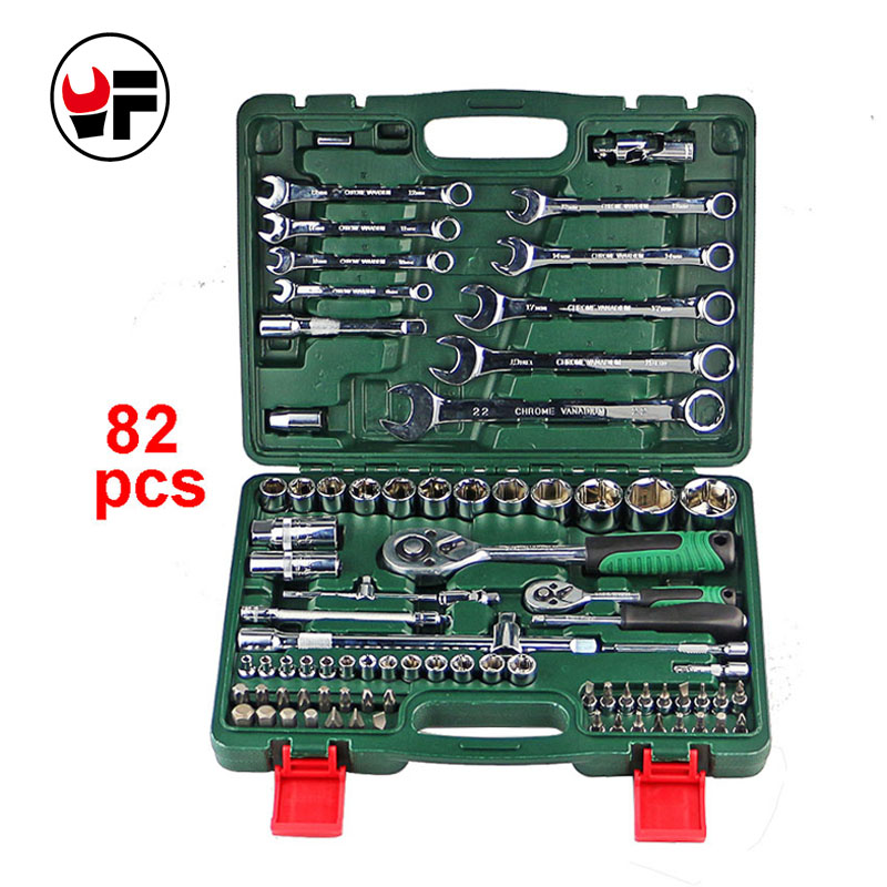 82pcs ratchet torque wrench 1/2 set auto repair hand tools box for car kit a set of keys tool spanners llave ferramentas DN105 7pcs8 10 12 13 14 17 19mmfixed head the key ratchet combination wrench set auto repair hand tool a set of keys ad2012