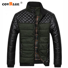 Covrlge Men Casual Parka Padded 2019 Winter Jacket Mens Warm PU Leather Patchwork Color Stand Collar Zipper Thick Coat MWM079