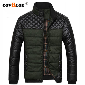 Image 1 - Covrlge Men Casual Parka Padded 2019 Winter Jacket Mens Warm PU Leather Patchwork Color Stand Collar Zipper Thick Coat MWM079