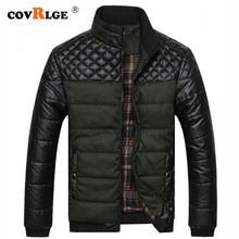 Парка Covrlge Мужская зимняя с подкладкой, теплая утепленная куртка из искусственной кожи, с воротником стойкой, на молнии, в стиле пэчворк, повседневная, MWM079, 2019