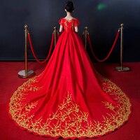 Роскошные Дети Одежда для свадьбы красный бальное платье с длинным шлейфом Emboridery девушки Pageant Vestidos Подиум вечерние Show платья S145