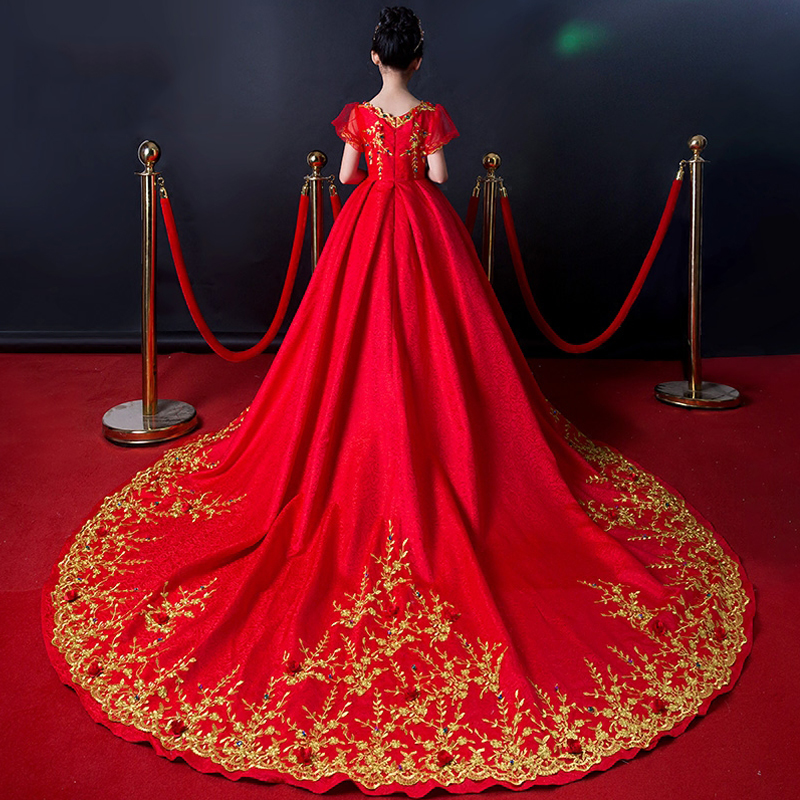 Luxury Kids Wedding Clothing Red Ball Gown Dress Long Trailing Emboridery Girls Pageant Vestidos Catwalk Party Show Dresses S145Luxury Kids Wedding Clothing Red Ball Gown Dress Long Trailing Emboridery Girls Pageant Vestidos Catwalk Party Show Dresses S145