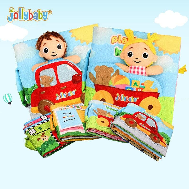 Jollybaby nueva educación temprana rompecabezas libros de tela con papel anillo libro del bebé libro de cuentos muñecos en casa WJ468