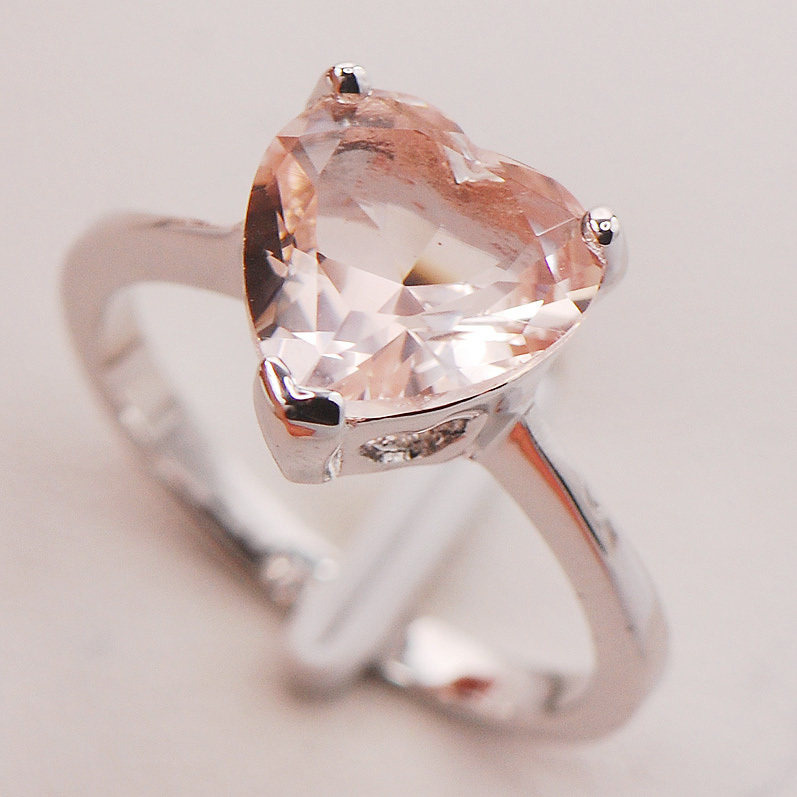 Morganite Women 925 Sterling Silver Ring F771 Size 5 6 7 8 9