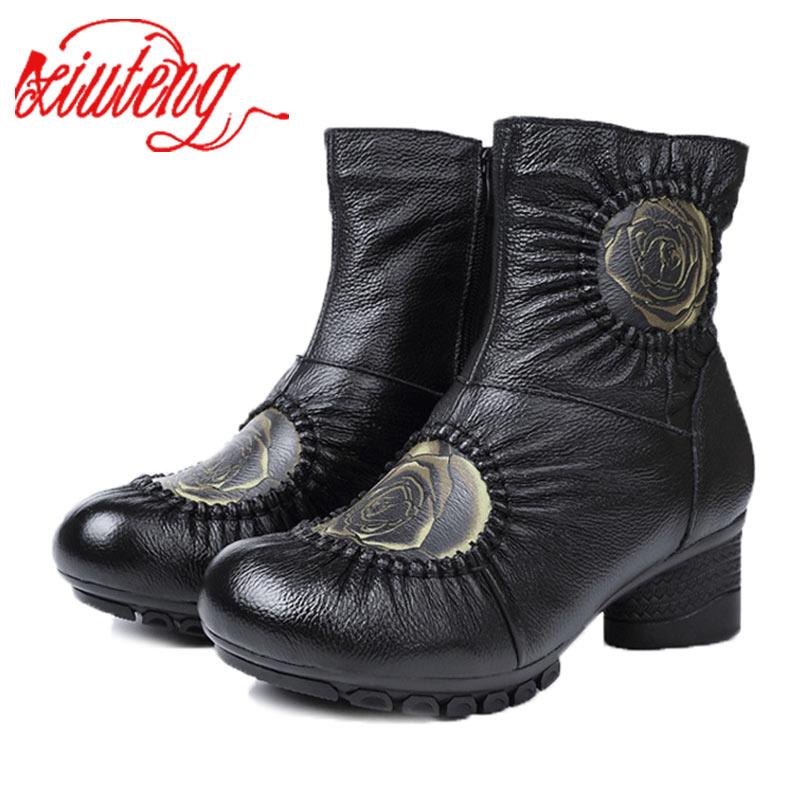 Xt0059 Caliente Del Invierno Botas De gray Genuino Mujer Felpa A Hecho Zapatos Xiuteng Mano Botines xt0059 Nieve Cuero black w0qR8ZnF