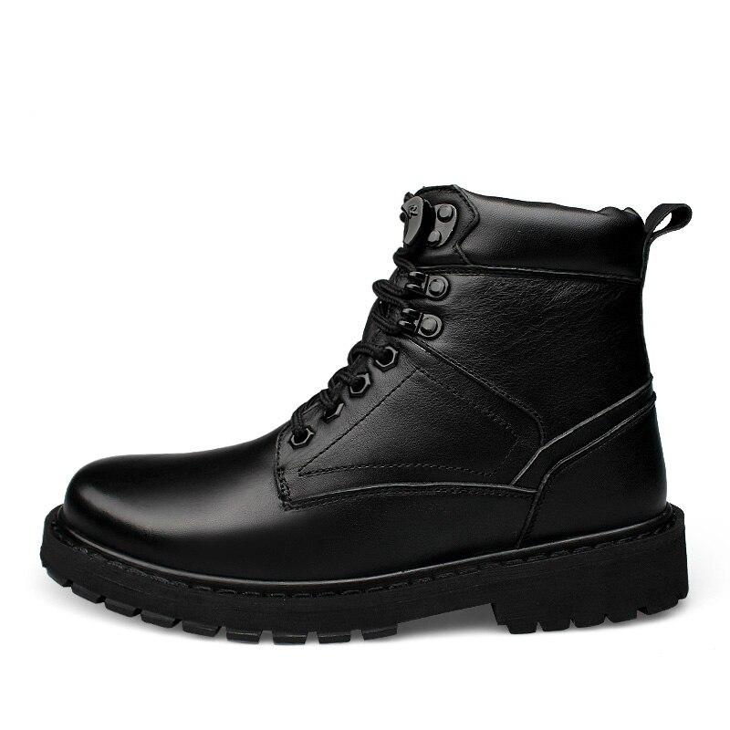 อังกฤษแฟชั่นบุรุษสีดำขนาดใหญ่ของแท้หนังฝ้าย   เบาะฤดูหนาวหิมะรองเท้าบูทข้อเท้าทหาร boot sapatos-ใน บูทลุยหิมะ จาก รองเท้า บน   3