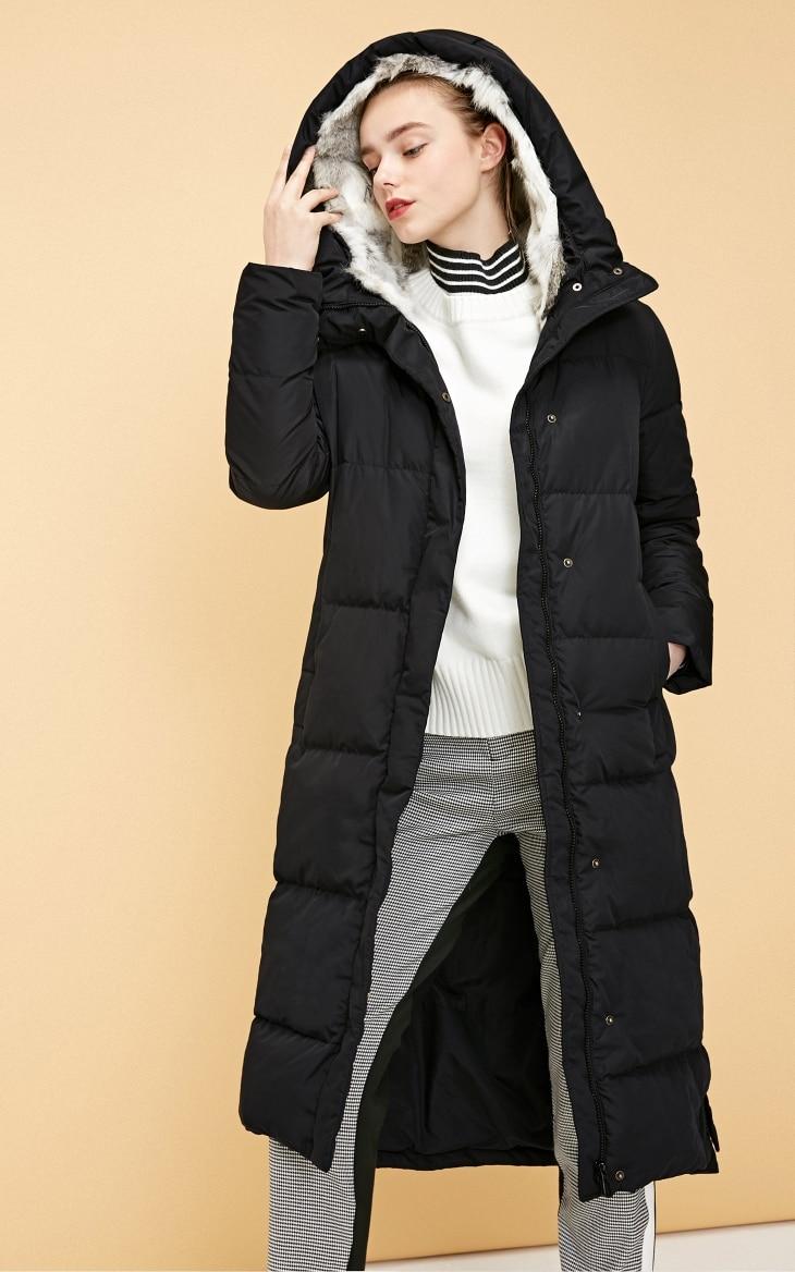 Vero Moda new detachable rabbit fur hooded long down jacket women | 318312503 17