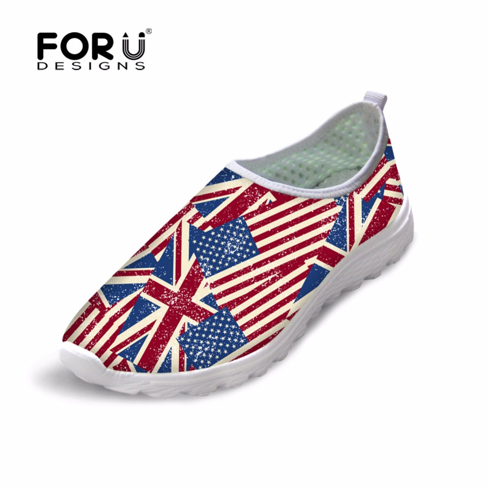 FORUDESIGNS Summer Women's Casual Shoes Flats 3D UK USA Flag Pattern Fashion Female Breathable Mesh Shoes Flat Shoes for Teenage forudesigns fashion candy color women casual flats shoes summer breathable mesh shoes for ladies leisure loafers female shoes