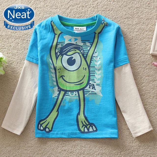NEAT Nuevo resorte libre del envío 2016 del bebé ropa de moda tutú de dibujos animados chico cuello redondo de manga larga T-shirt de algodón 100% A5139