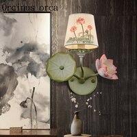 새로운 중국 스타일 골동품 연꽃 벽 램프 거실 배경 벽 레스토랑 발코니 복도 침실 철 벽 램프