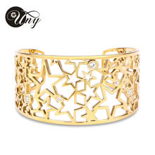 UNY Fashion hot sale ladies luxury jewelry stainless steel five pointed star shiny crystal bracelet free