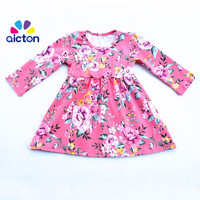 Latest Adorable Girls Cotton Print Baby Frocks Designs Floral Pastoral Style Fall Children Dresses