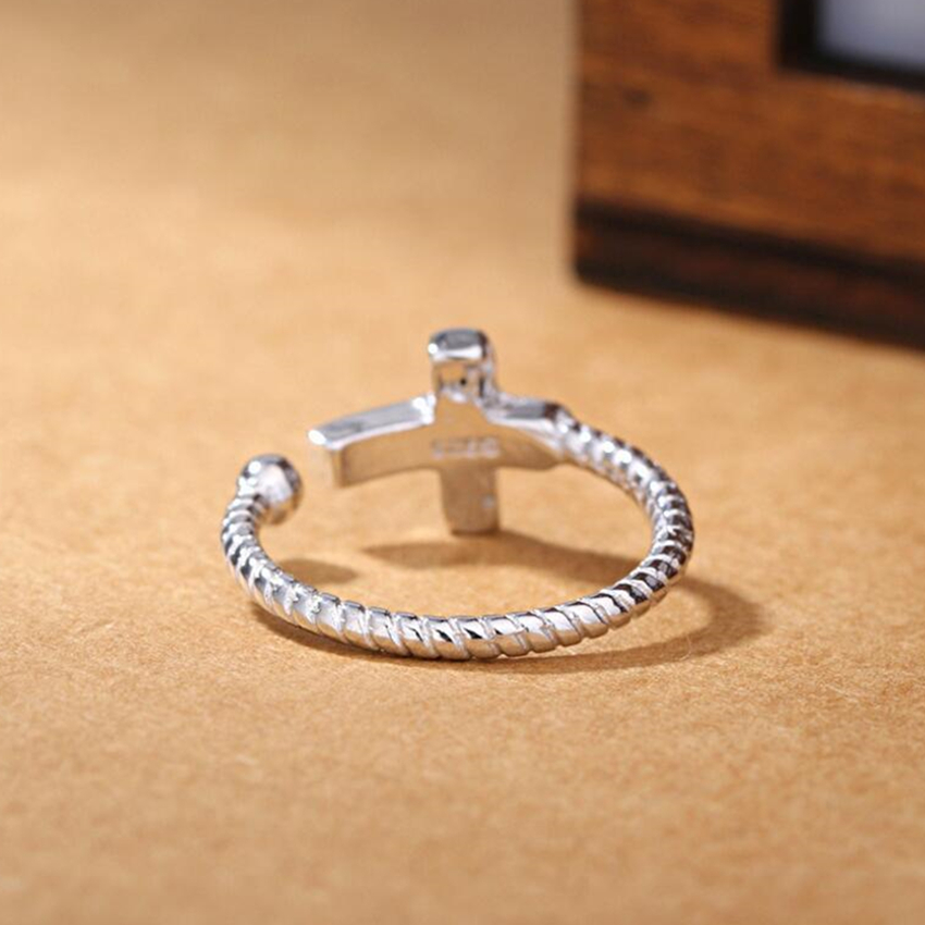 New classic retro ring finger opening the influx of people cross Serratula Drawstring Silver Colour Ring Women Jewelry