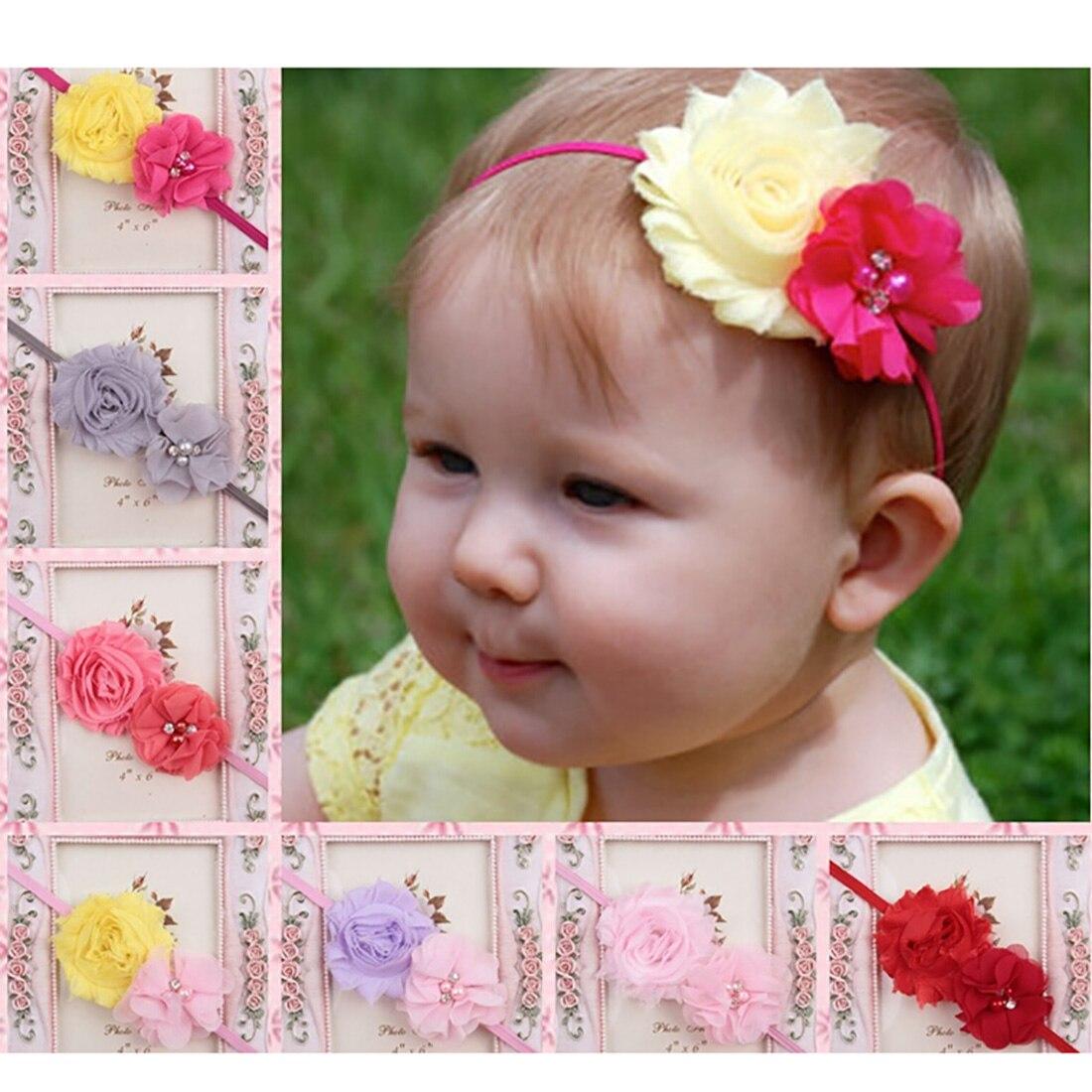 Elastic Faixa de Cabelo Headband Da Flor recém-nascidos Crianças Chiffon 2  Flor Pérola Acessórios Para o Cabelo Flor Headwear 0dfd39663bca