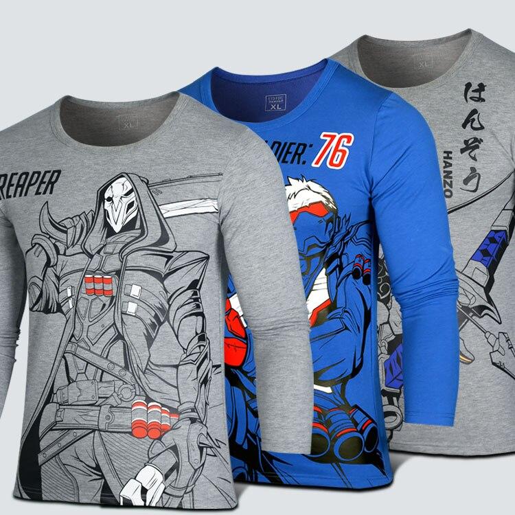 Game OW Hanzo Long Sleeve T shirt Men O-Neck T-Shirt D.VA Cosplay Cartoon Printed Crew-Neck Long-Sleeve T-shirt F long sleeve t shirt