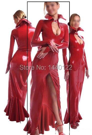 De manga larga de látex maxi vestido para las mujeres de caucho rojo vestidos fetiche slim vestidos de fiesta plus tamaño Venta caliente personalizar servicio-in Vestidos from Ropa de mujer    1