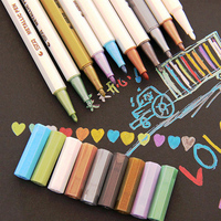 STA 10Pcs Heaxgon Metallic Watercolor Decorative Artist Marker Pen Set For Diy Scrapbooking Card Sketch Stationery