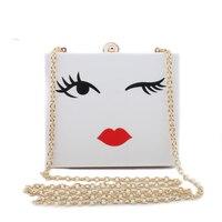 Stylish Eyebrow Printing Acrylic Clutch Expression Women Shoulder Crossbody Bags White Mini Flap Evening Clutch Bags
