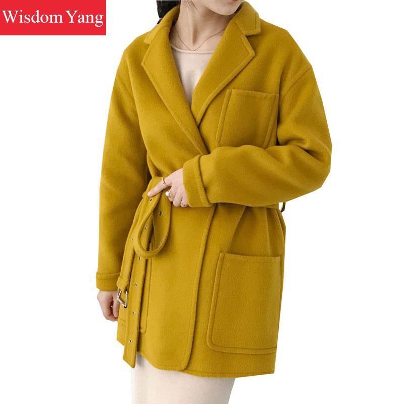 Chaud Pardessus pink Manteaux Manteau Dames Rouge red Brun Brown Coat Femmes Coat 2018 Survêtement Coat De D'hiver Ceinture yellow Laine Coat Longue khaki Femelle Coat Élégant Kaki Tranchée X68wqwZB