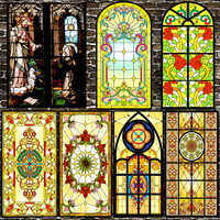 1 Roll Church Stained Glass Adhesive Film Privacy Window Film Frosted Heat Transfer Vinyl for Church Decoration Privacy Glass