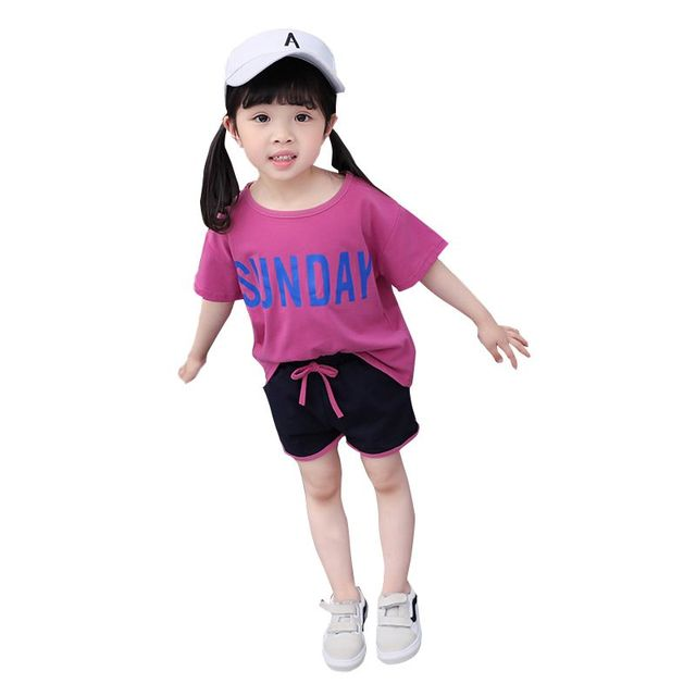 be41fa7a Hot Sale Summer Kids Girls Casual Letter Short Sleeve Tops T-shirts+Shorts  Pullovers