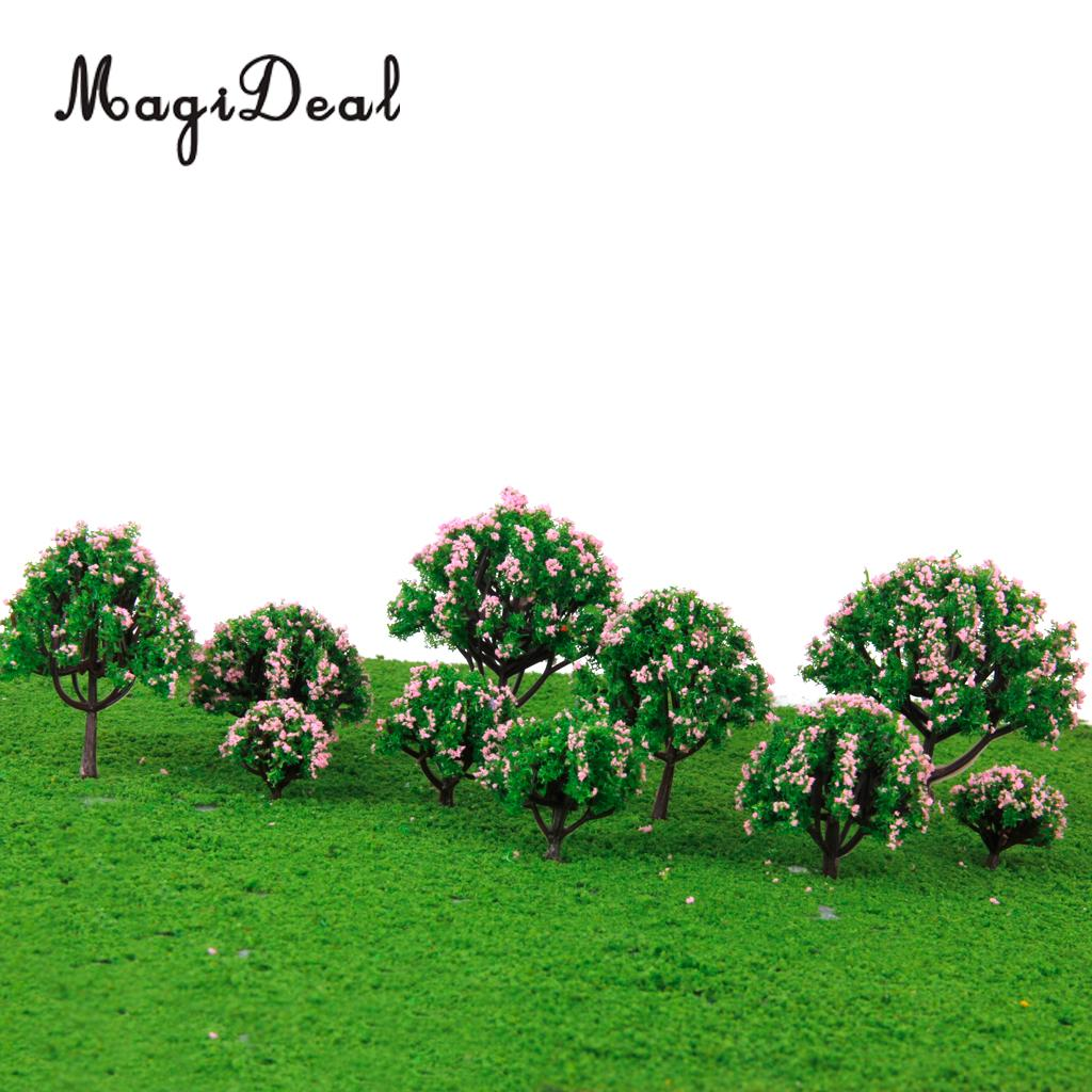 MagiDeal 5Sizes 10Pcs Plastic Model Tree with Pink Flower for Railroad Railway Train Track Home Garden Building Layout Diorama