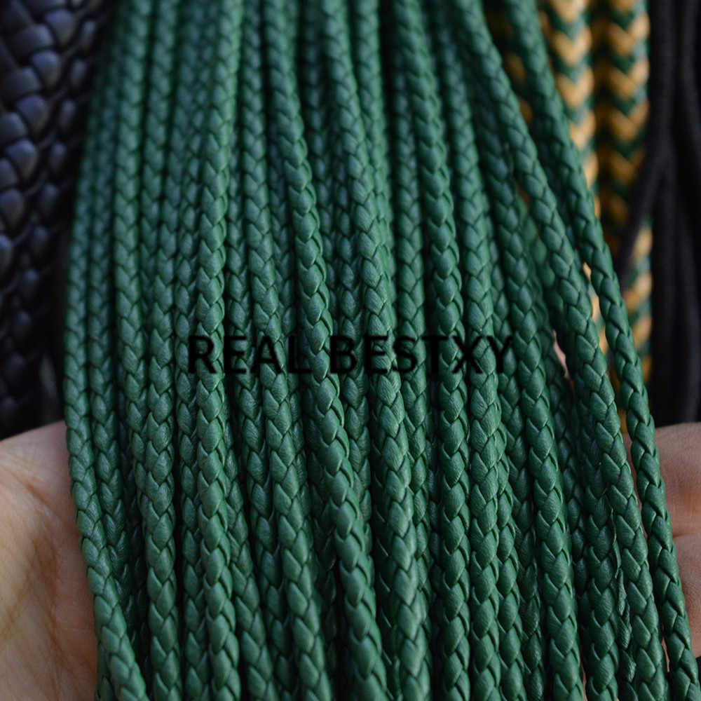 Настоящий BESTXY 5 м/лот 3 мм зеленый круглый плетеный кожаный шнур веревка Ювелирная фурнитура для рукоделия модные ремесленные зеленые Кожаные Шнуры