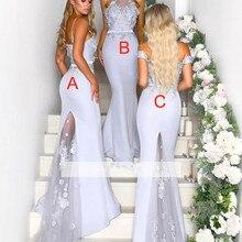 Серебро дешевые платья подружки невесты до 50 Русалка Холтер Цветы Длинные свадебные платья для женщин