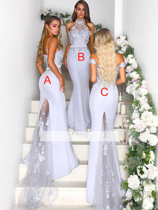 Silver 2019 Cheap Bridesmaid Dresses Under 50 Mermaid Halter Flowers Long Wedding Party Dresses For Women