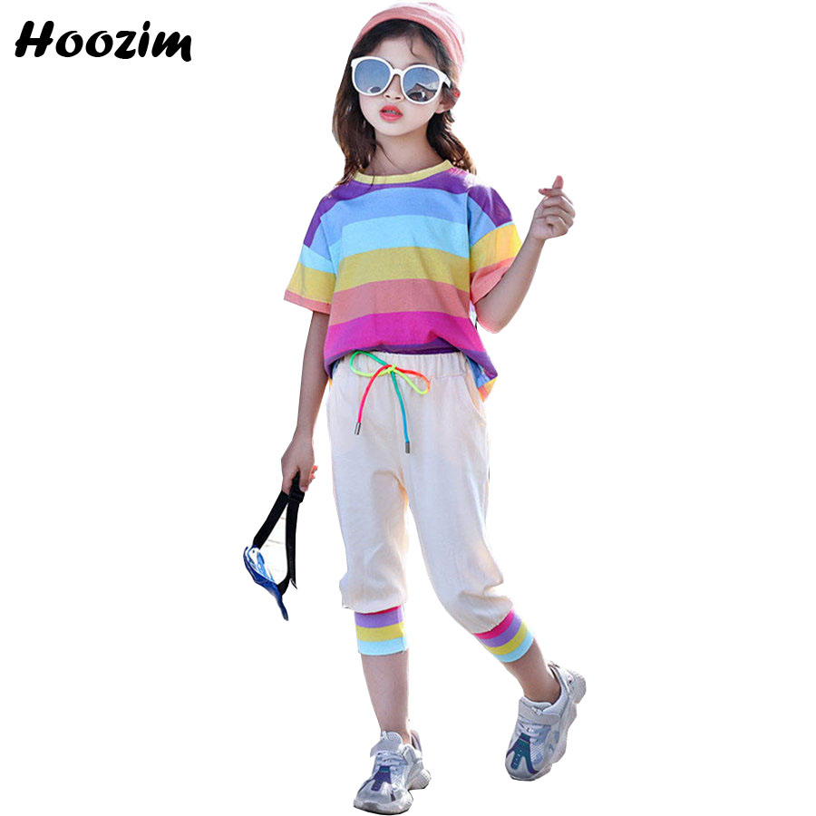 Summer Sport Suit For Girls 7 8 9 10 11 Years Fashion Striped Cotton T Shirt+Pants Children Nice Kids Clothes Girls Clothing SetSummer Sport Suit For Girls 7 8 9 10 11 Years Fashion Striped Cotton T Shirt+Pants Children Nice Kids Clothes Girls Clothing Set