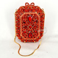 Red Stone New Fashion diamante Luxury Crystal Evening Bag Designer Famous banquet Clutch Bag Wedding Crystal Encrusted Bag SC521