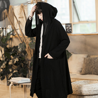 Men Chinese Style Long Casual Hooded Trench Coat Spring Summer Male Streetwear Hip Hop Punk Gothic Cardigan Jacket Overcoat