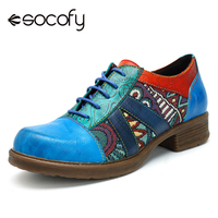 Socofy Women Retro Bohemian Flats Shoes Genuine Leather Lace up Oxford Vintage Casual Sneakers New Summer Spring Ladies Shoes